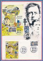 FRANCE -CARTE ET ENV. DE GAULLE OBLI AMIRAL EMILE MUSELIER 1882-1965 ST PIERRE 08.01.92 - De Gaulle (Général)