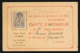 WACHTEBEKE  PENSIONNAT DES SOEURS DE ST VINCENT DE PAUL  CARTE D'HONNEUR   1933 - Wachtebeke