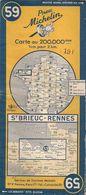 CARTE MICHELIN N° 59 - St BRIEUC-RENNES - 1 : 200.000 - 1950 - Carte Stradali