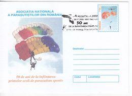 Romania , Roumanie , 2000 , Sport , Parachutting , Parachute  , The First Parachuting Schools,  Pre-paid Envelope - Parachutting