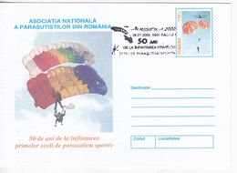 Romania , Roumanie , 2000 , Sport , Parachutting , Parachute  , The First Parachuting Schools,  Pre-paid Envelope - Fallschirmspringen