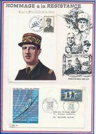 FRANCE - CARTE DE GAULLE OBLI JERICHO AMIENS 19.02.84 + ENV. OBLI NORMANDIE NIEMEN 1ER JOUR PARIS 18.10.69 - De Gaulle (Général)