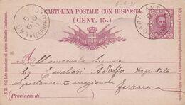 ITALIA - REGNO - LAGOSANTO (FERRARA) - INTERO POSTALE C. 7 1/2 CON RISPOSTA C. 15 - VIAGGIATO PER FERRARA - 1878-00 Humbert I
