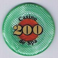 Casino Chip Jeton 200 BEF Casino De Spa Belgium Belgique België - Casino