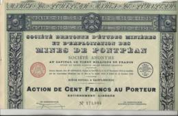 SOCIETE BRETONNE D'ETUDES MINIERES ET D'EXPLOITATION DES MINES DE PONTPEAN- ST BRIEUC- LOT DE 5 ACTIONS DE 100 FRS -1929 - Mines