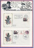 FRANCE -2 FDC RESISTANCE OBLI SEMAINE DE LA RESISTANCE STRASBOURG 27.10.84 + 40E ANNIV LIBERATION SOSPEL 28.10.84 - Guerre Mondiale (Seconde)