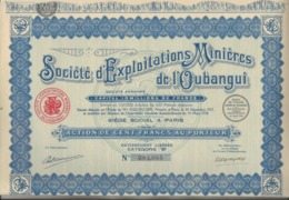 SOCIETE D'EXPLOITATIONS MINIERES DE L'OUBANGUI - LOT DE 5  ACTIONS DE 100 FRS - ANNEE 1928 - Mines
