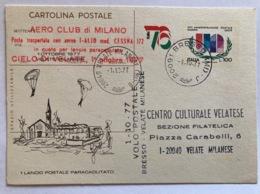 Italia Cartolina Postale C 176 Con Sovrastampa Privata Lancio Postale Paracadutato Velate Milanese 1977 - Ganzsachen