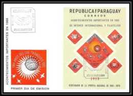11386/ Espace Space Lettre Cover Fdc Non Dentelé (imperforate) Année Du Soleil Tranquille Sun Paraguay 9/3/1966 - Lettres & Documents