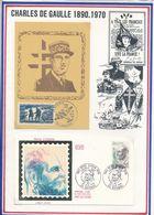 FRANCE - CARTE DE GAULLE OBLI JERICHO AMIENS 19.02.84 + FDC RENE CASSIN BAYONNE 25.06.83 - De Gaulle (Général)