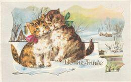 Mignonnette - Bonne Année - Chats Paysage - Nouvel An