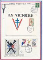 FRANCE - CARTE VICTOIRE + FDC OBLI JUIN 1940 COMBATS POUR L'HONNEUR SAUMUR 6.7.85 - Guerre Mondiale (Seconde)