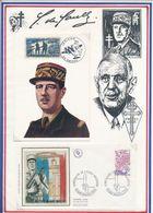 FRANCE - CARTE DE GAULLE OBLI JERICHO AMIENS 19.2.84+ FDC OBLI CENTENAIRE ECOLE MILITAIRE ST MAIXENT L'ECOLE 16.5.81 - De Gaulle (Général)