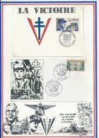 FRANCE - CARTE VICTOIRE OBLI EXPO PHIL MOUILLERON RN PAREDS 8.5.85 + ENV. OBLI 30E CONGRES NATIONAL ST DENIS 12.07.81 - Guerre Mondiale (Seconde)
