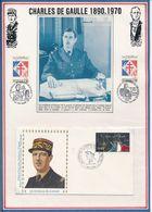 FRANCE -PHOTOS DE GAULLE + ENV. OBLI A LA MEMOIRE DU GNL DE GAULLE LYON 8-9.11.80 - De Gaulle (Général)