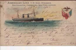MARINE - American Line U.S. Mail Steamer - Southampton-Cherbourg-New-York Service - S.S. St LOUIS - Handel