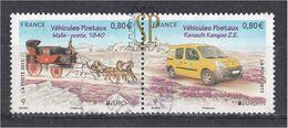 France 2013 Europa Les Véhicules Postaux 4749 / 4750 Used Malle Poste Mala Posta Postman Van Europe Renault Kangoo - Europa-CEPT