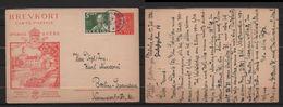 SVEZIA  1936 Cartolina Postale BREVKORT Le Chateau De Vadstena 15ore+5ore X Berlino 18/3/36 - Postwaardestukken