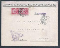 Letter From Brazil Censored 'LIVRE' For Paris 1918. World War. Triangular Censorship Overload. Jules Richard. Hygiene - Prima Guerra Mondiale
