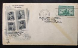 CANADA, Circulated FDC, « MEMORIALS », « Four Chaplains Memorial », « New Found Land », 1949 - ....-1951