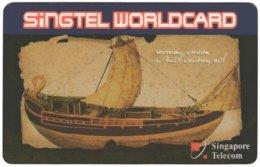 SINGAPORE B-670 Prepaid SingTel - Painting, Traffic, Historic Ship - Used - Singapour