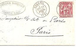 Sage N° 71 Sur Lettre De Corbeil (Seine Et Oise) Cote 45,00€ - 1876-1878 Sage (Tipo I)