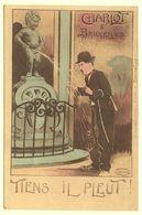 A0587[Postkaart] Charlot à Bruxelles / Tiens ... Il Pleut! (Marco Marcovici) [Charlie Chaplin Brussel Manneke Pis] - Monumenten, Gebouwen