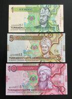 TURKMENISTAN SET 1 5 10 MANAT BANKNOTES 2009 UNC - Turkménistan