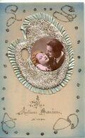 Couple 229, Artisanal Fond Celluloide Palette De Peintre Paillettes Tissu - Coppie