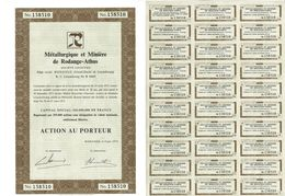 Titre Ancien - Métallurgique Et Minière De Rodange-Athus - Société Anonyme - Luxembourg - Titre De 1975 - Industrial