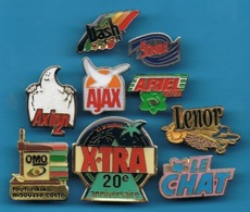 9 PIN'S //  ** MARQUES DE LESSIVES / 9 Différents ** - Badges