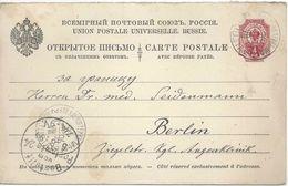PK Mit Bez.Antwort  Livland - Berlin          1894 - 1857-1916 Empire
