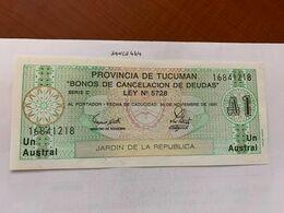 Argentina 1 Austral Uncirc.  Banknote 1991 #3 - Argentina