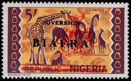 Biafra 1968 5s Giraffes Brown-purple Shade Unmounted Mint. - Nigeria (1961-...)
