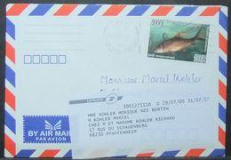 Kambodja - Cover To France Readdressed 2007 Fauna Fish 1000R Solo - Kampuchea