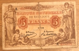 5 Francs Antwerpen 1914 Babau - De Lantsheere! 6124 - [ 3] Occupazioni Tedesche Del Belgio