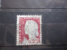 """VEND BEAU TIMBRE DE FRANCE N° 1263 , OBLITERATION """" PONTORSON """" !!! - 1960 Marianne De Decaris"""