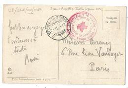 ITALIA CARTOLINA SAVONA + CROCE ROSSA COMITATO 1917 + AMBULANT GENOVA VENTIMIGLIA - 1900-44 Victor Emmanuel III