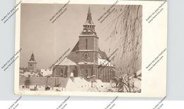 RO 500000 BRASOV / KRONSTADT, Siebenbürgen, Schwarze Kirche Im Schnee, Photo-AK, 1932, Kl. Einriss - Rumänien