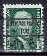 USA Precancel Vorausentwertung Preo, Locals Pennsylvania, Brackney 819 - Estados Unidos
