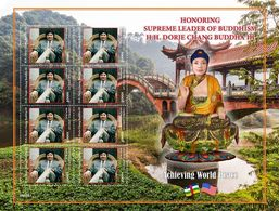 Central Africa.  2020 Honoring Supreme Leader Of Buddhism H.H. Dorje Chang Buddha III. (0315c)  OFFICIAL ISSUE - Buddhismus