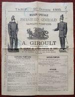 Tarif 1885 A. Giroult . Fournitures Générales Pour Sapeurs-pompiers. Uniformes . Rare . - Frankreich