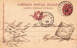 CATTOLICA - RIMINI - CARTOLINA POSTALE  DA 10 CENT. DEL 1896 - USATA LO STESSO ANNO DI EMISSIONE PER CASTELMAGGIORE (BO) - Rimini