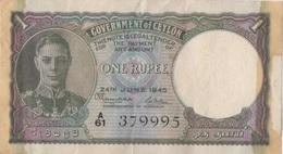 Sri Lanka (Ceylon) : 1 Rupee 1945 (état Voir Scan) - Sri Lanka