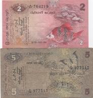 Sri Lanka (Ceylon) : Lot De 2 Billets : 2 Rupees 1979 (bon état) + 5 Rupees 1979 (mauvais état) - Sri Lanka