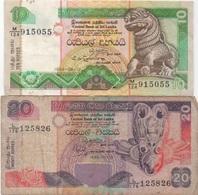 Sri Lanka : Lot De 2 Billets : 10 Rupees 1994 (moyen état) + 20 Rupees 1995 (très Mauvais état) - Sri Lanka