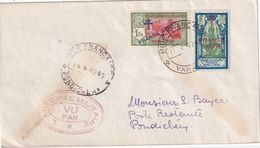 INDE 1945 LETTRE CENSUREE DE YANAON POUR PONDICHERY - Covers & Documents