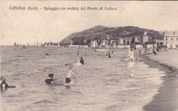 CATTOLICA - RIMINI - SPIAGGIA CON VEDUTA DEL MONTE DI GABICCE - BELLA ANIMAZIONE - 1917 - Rimini