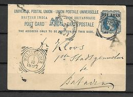 INDE Anglaise   -    1897 .  Entier Postal Pour Batavia (Inde Néerlandaise) - India (...-1947)