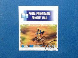 2002 SAN MARINO FRANCOBOLLO USATO STAMP USED POSTA PRIORITARIA SPORT CICLISMO 0,62 - San Marino